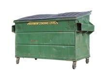 绿色垃圾或回收在白色的大型垃圾桶与裁减路线 免版税库存图片