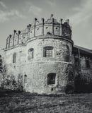 黑色城堡棋子反映白色 免版税库存图片