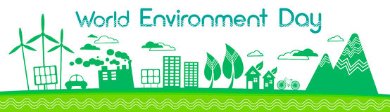 绿色城市剪影风轮机太阳能盘区世界环境日横幅 库存照片