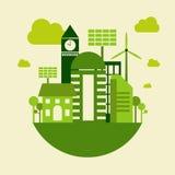 绿色城市大厦,救球地球概念,传染媒介 免版税库存照片
