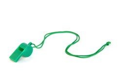 绿色塑料口哨 免版税库存图片