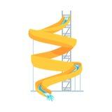 黄色塑料幻灯片, aquapark动画片传染媒介例证的设备 向量例证