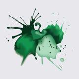 绿色墨水和水彩油漆飞溅的污点 免版税库存照片