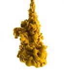 黄色墨水在水中 免版税图库摄影