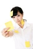 黄色备忘录笔记 库存照片