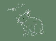 绿色复活节明信片用野兔 库存照片