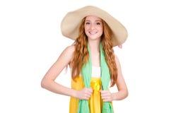 黄色夏天礼服的少妇 库存图片