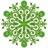 从绿色夏天花的雪花 库存照片