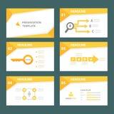 黄色多用途infographic元素平的设计为介绍设置了 免版税库存图片