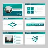 绿色多角形介绍模板, Infographic元素模板平的设计为年终报告小册子飞行物传单设置了 免版税库存图片
