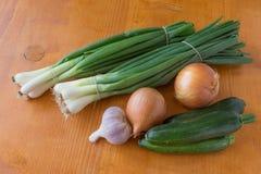 绿色大蒜和夏南瓜两棵葱  JPG 免版税库存图片