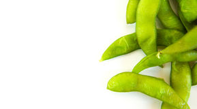 绿色大豆豆和大豆日本食物-在白色背景 免版税库存图片
