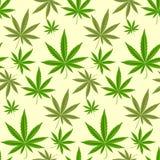 绿色大麻背景传染媒介例证无缝的样式大麻叶子草本麻醉纺织品 库存图片