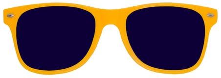 黄色太阳镜,树荫,隔绝在白色 免版税图库摄影