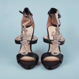 黑色女性鞋子 图库摄影
