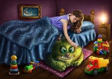 绿色妖怪在床下 免版税库存图片