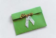 绿色婚礼盖子 免版税库存图片