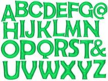 绿色字母表箔气球设置了与裁减路线 免版税图库摄影