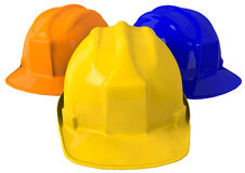 黄色安全帽或安全帽在白色背景 库存图片