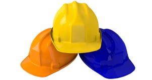 黄色安全帽或安全帽在白色背景 免版税库存图片