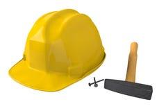 黄色安全帽或安全帽在白色背景 库存照片