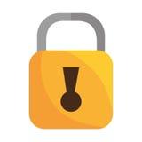 黄色安全挂锁被隔绝的象 库存图片