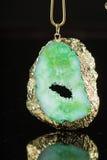 绿色宝石项链 库存照片