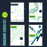 绿色小册子兆集合模板布局,盖子设计,年终报告,杂志,飞行物,在A4的传单与形状为 库存例证