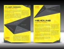 黄色小册子飞行物设计版面模板,大小A4,首页和登在报纸最后部分, infographics,传染媒介例证 免版税库存照片