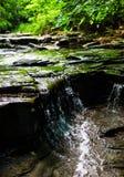 绿色小河瀑布 免版税库存照片