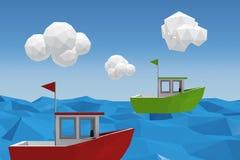 绿色小船的三维图象的综合图象 图库摄影