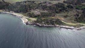绿色山景风景从直升机的在南极洲的海岸线 影视素材