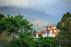 绿色山的偏僻的房子 库存图片