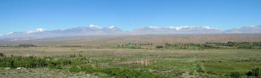 绿色山谷和山在天际 免版税库存照片