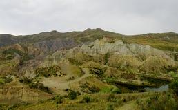 绿色山谷和岩层在拉巴斯附近在玻利维亚 免版税库存照片