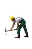 绿色工作服的人有在白色隔绝的轴的 免版税库存照片