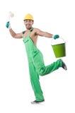 绿色工作服的画家 图库摄影
