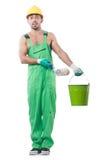 绿色工作服的画家 免版税图库摄影