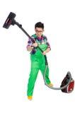 绿色工作服的滑稽的人 免版税库存图片