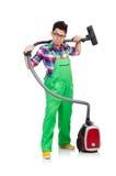 绿色工作服的滑稽的人 免版税图库摄影