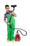 绿色工作服的滑稽的人 免版税库存照片