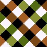 绿色布朗棋盘金刚石背景 库存例证