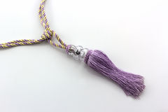紫色帷幕缨子室内装璜 库存照片