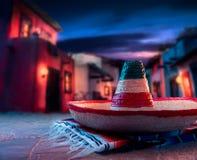 绿色帽子查出的墨西哥阔边帽 免版税库存照片