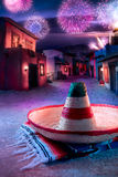 绿色帽子查出的墨西哥阔边帽 库存图片