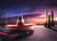 绿色帽子查出的墨西哥阔边帽 免版税图库摄影