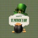 绿色帽子 两片叶子三叶草 币金罐 愉快的圣帕特里克s天题字 以细胞为背景 库存照片