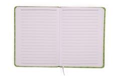 绿色开放笔记本 库存照片