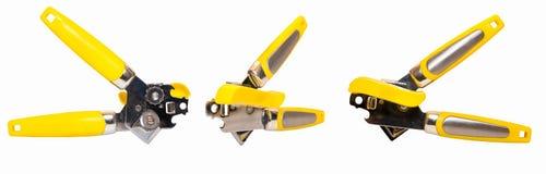 黄色开罐头用具查出3张视图 免版税库存图片