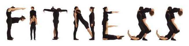 黑色形成词健身的加工好的人民 免版税库存图片